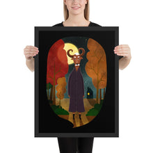 Load image into Gallery viewer, Deer Creature At Night | Illustration | Black | Framed Poster-framed posters-Black-18×24-Eggenland