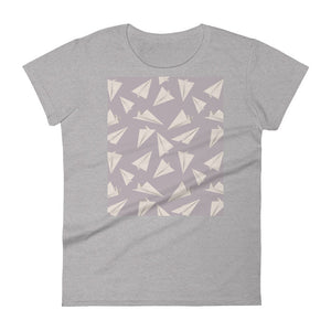 Paper Planes Pattern | Violet | Women's Short-Sleeve T-Shirt-t-shirts-Heather Grey-S-Eggenland
