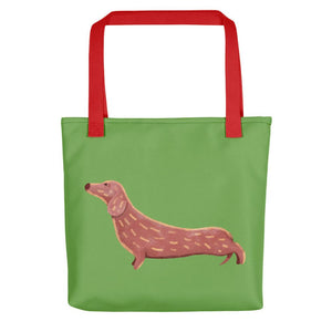 Cute Dachshund Dog | Light Green | Tote Bag-tote bags-Red-Eggenland