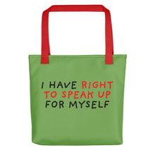 Load image into Gallery viewer, Right to Speak Up | Green | Tote Bag-tote bags-Red-Eggenland