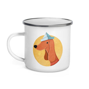 Dog with Paper Hat | Enamel Mug-enamel mugs-Eggenland