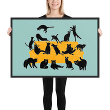 Load image into Gallery viewer, Black Cats Party | Blue | Illustration | Framed Poster-framed posters-Black-24×36-Eggenland