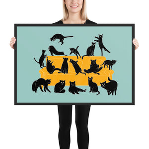 Black Cats Party | Blue | Illustration | Framed Poster-framed posters-Black-24×36-Eggenland