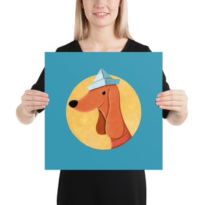 Dog with Newspaper Hat | Poster-posters-16×16-Eggenland