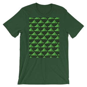 Paper Hats Pattern | Green | Short-Sleeve Unisex T-Shirt-t-shirts-Forest-S-Eggenland