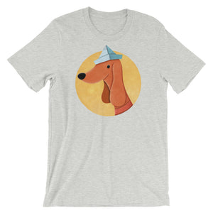 Dog With Newspaper Hat | Short-Sleeve Unisex T-Shirt-t-shirts-Athletic Heather-S-Eggenland