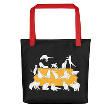 Load image into Gallery viewer, Cat Party | Black | Tote Bag-tote bags-Red-Eggenland