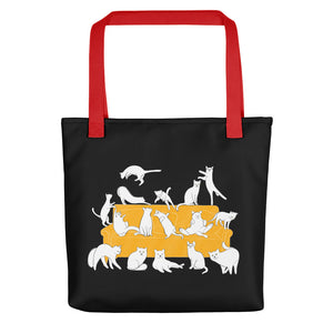 Cat Party | Black | Tote Bag-tote bags-Red-Eggenland