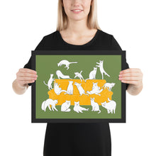 Load image into Gallery viewer, Cats Party | Illustration | Green | Framed Poster-framed posters-Black-12×16-Eggenland