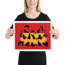 Load image into Gallery viewer, Black Cats Party | Red | Illustration | Framed Poster-framed posters-White-12×16-Eggenland