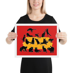 Black Cats Party | Red | Illustration | Framed Poster-framed posters-White-12×16-Eggenland
