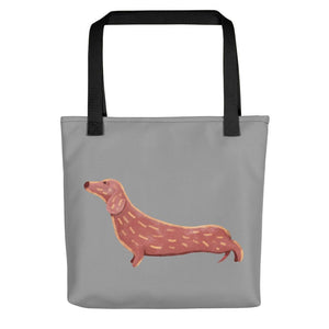 Cute Dachshund Dog | Grey | Tote Bag-tote bags-Black-Eggenland