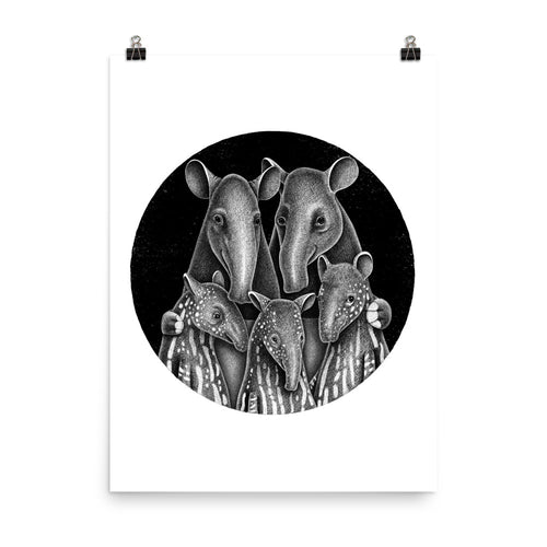 Tapir Family | Illustration | Poster-posters-Eggenland