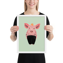 Load image into Gallery viewer, Cool Pig With Tattoos | Illustration | Green | Framed Posters-framed posters-White-12×16-Eggenland