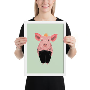 Cool Pig With Tattoos | Illustration | Green | Framed Posters-framed posters-White-12×16-Eggenland