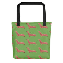 Load image into Gallery viewer, Dachshund Dog Pattern | Light Green | Tote Bag-tote bags-Black-Eggenland