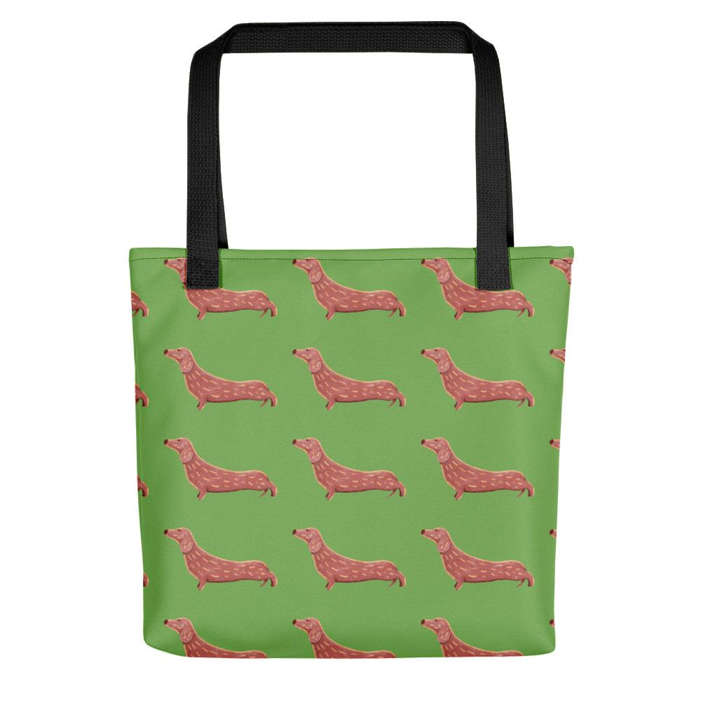 Dachshund Dog Pattern | Light Green | Tote Bag-tote bags-Black-Eggenland