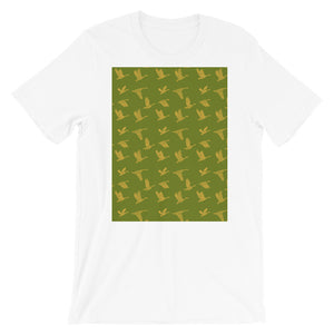 Flying Birds Pattern | Green | Short-Sleeve Unisex T-Shirt-t-shirts-White-S-Eggenland