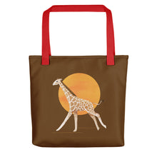 Load image into Gallery viewer, Giraffe and Sun | Brown | Tote Bag-tote bags-Red-Eggenland