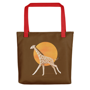 Giraffe and Sun | Brown | Tote Bag-tote bags-Red-Eggenland