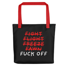 Load image into Gallery viewer, Five F of Fear | Black | Tote Bag-tote bags-Red-Eggenland