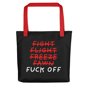 Five F of Fear | Black | Tote Bag-tote bags-Red-Eggenland