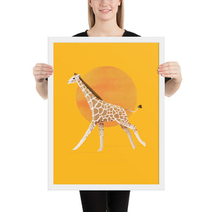 Giraffe and Sun | Illustration | Yellow | Framed Poster-framed posters-White-18×24-Eggenland