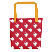 Load image into Gallery viewer, Cute Cat Pattern | Red and White | Tote Bag-tote bags-Yellow-Eggenland