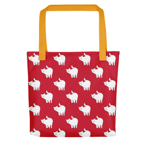 Cute Cat Pattern | Red and White | Tote Bag-tote bags-Yellow-Eggenland