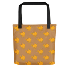 Load image into Gallery viewer, Yellow Cat Pattern | Light Brown | Tote Bag-tote bags-Black-Eggenland