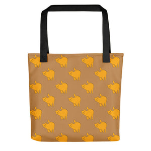 Yellow Cat Pattern | Light Brown | Tote Bag-tote bags-Black-Eggenland