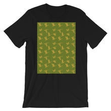 Load image into Gallery viewer, Flying Birds Pattern | Green | Short-Sleeve Unisex T-Shirt-t-shirts-Black-S-Eggenland