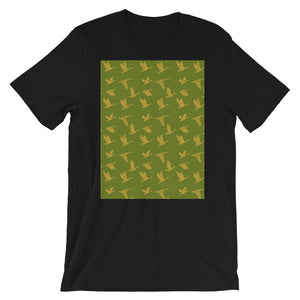 Flying Birds Pattern | Green | Short-Sleeve Unisex T-Shirt-t-shirts-Black-S-Eggenland