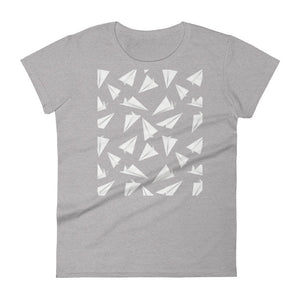 Paper Planes Pattern | Women's Short-Sleeve T-Shirt-t-shirts-Heather Grey-S-Eggenland