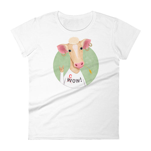 Wow Cow | Women's Short-Sleeve T-Shirt-t-shirts-White-S-Eggenland