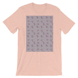 Flying Birds Pattern | Violet | Short-Sleeve Unisex T-Shirt-t-shirts-Heather Prism Peach-S-Eggenland