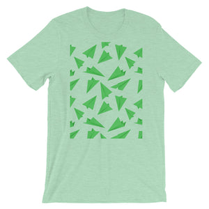 Paper Planes Pattern | Green | Short-Sleeve Unisex T-Shirt-t-shirts-Heather Prism Mint-M-Eggenland