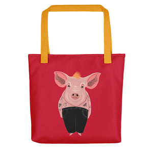 Cool Pig with Tattoos | Red | Tote Bag-tote bags-Yellow-Eggenland