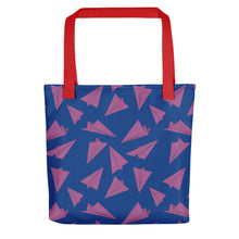Load image into Gallery viewer, Paper Planes Pattern | Blue and Purple | Tote Bag-tote bags-Red-Eggenland