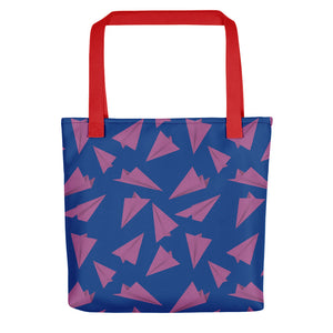 Paper Planes Pattern | Blue and Purple | Tote Bag-tote bags-Red-Eggenland