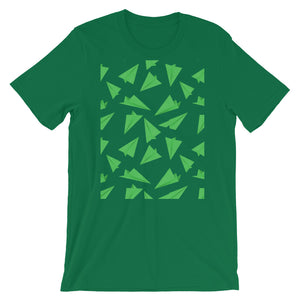 Paper Planes Pattern | Green | Short-Sleeve Unisex T-Shirt-t-shirts-Kelly-M-Eggenland