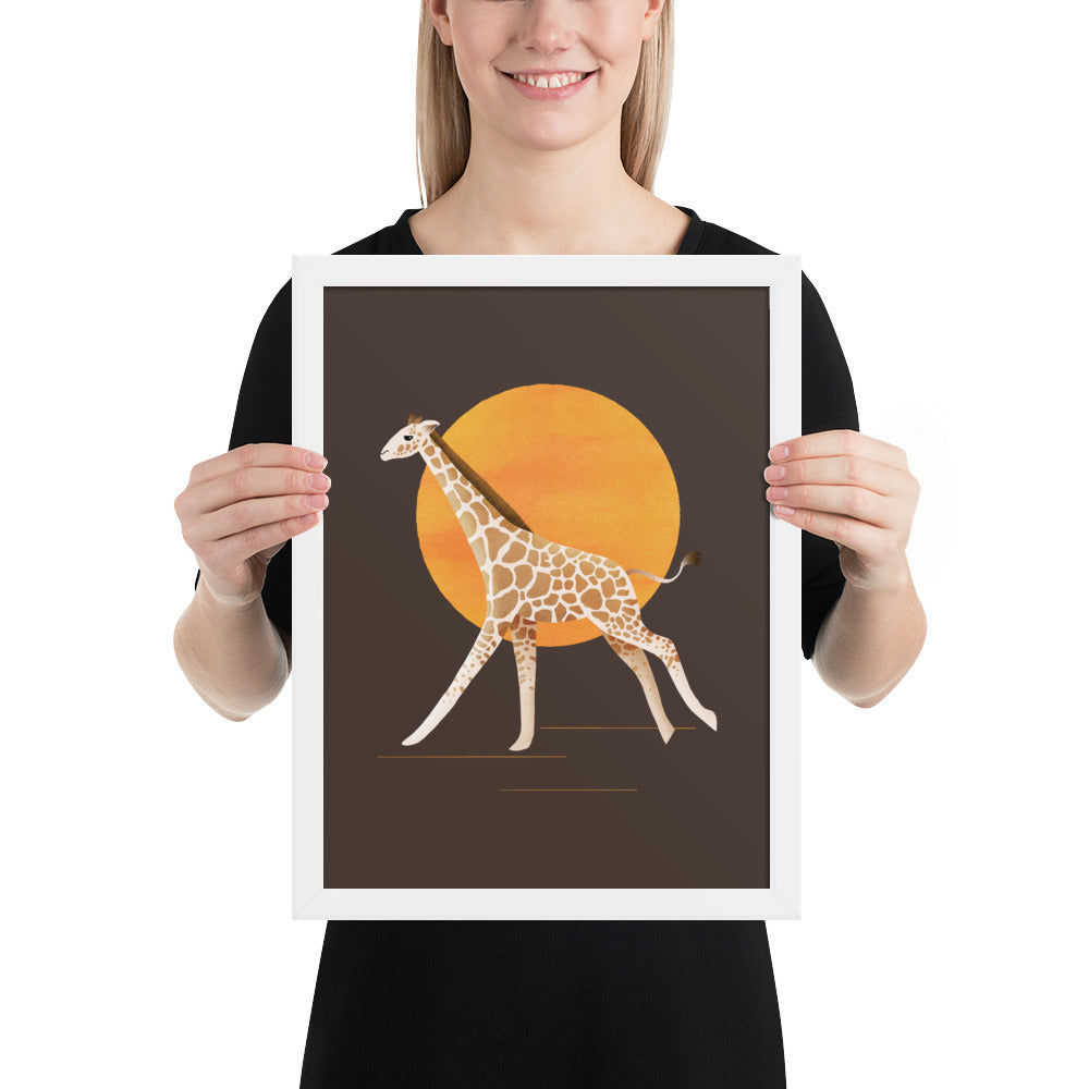 Giraffe and Sun | Illustration | Brown | Framed Posters-framed posters-White-12×16-Eggenland