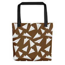 Load image into Gallery viewer, Paper Planes Pattern | Brown and White | Tote Bag-tote bags-Black-Eggenland