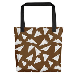 Paper Planes Pattern | Brown and White | Tote Bag-tote bags-Black-Eggenland