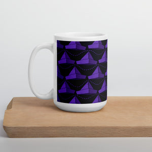 Newspaper Hats Pattern | Violet | Mug-mugs-15oz-Eggenland