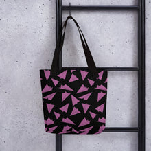 Load image into Gallery viewer, Paper Planes Pattern | Black and Pink | Tote Bag-tote bags-Eggenland