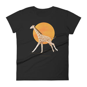 Giraffe and Sun | Women's Short-Sleeve T-Shirt-t-shirts-Black-S-Eggenland