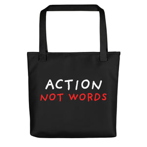 Action Not Words | Black | Tote Bag-tote bags-Black-Eggenland