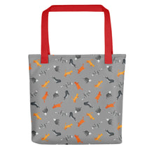 Load image into Gallery viewer, Funky Cats Pattern | Dark Grey | Tote Bag-tote bags-Red-Eggenland