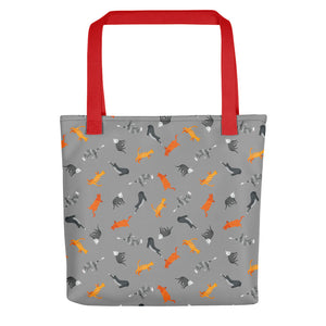 Funky Cats Pattern | Dark Grey | Tote Bag-tote bags-Red-Eggenland